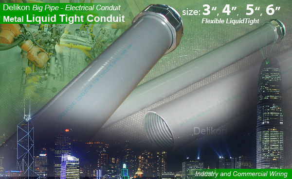 DELIKON BIG metal liquid tight conduit for water treatment plant and railway wiring
