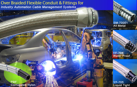 Over Braided Flexible <br /> <br /> Conduit & Fittings For Industry Automation Cable Management