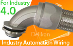 Delikon heavy series over braided flexible conduit and fittings are specifically designed to protect Industry 4.0 power, control and instrumentation cable.