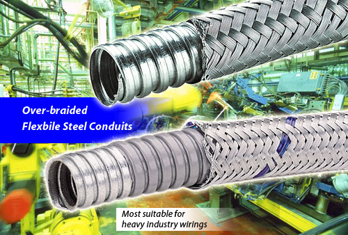 overbraided flexible steel conduit,for heavy industry wirings