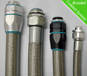 EMI screening capabilities in braided flexible conduit systems