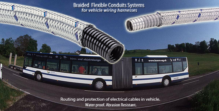braided flexible conduits systems for use on vehicle wiring harnesses