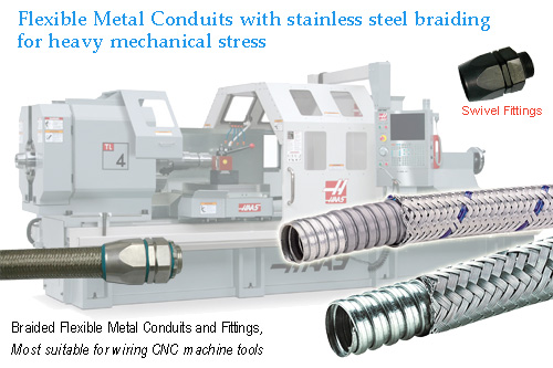 Braided Flexible metal conduit with stainless steel braiding for heavy mechanical stress