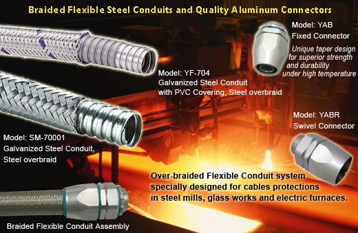 braided flexible steel conduit,aluminum connector for steel mill cables protection