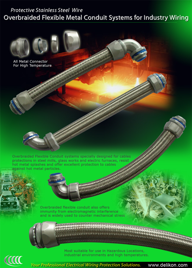Overbraided flexible conduit system