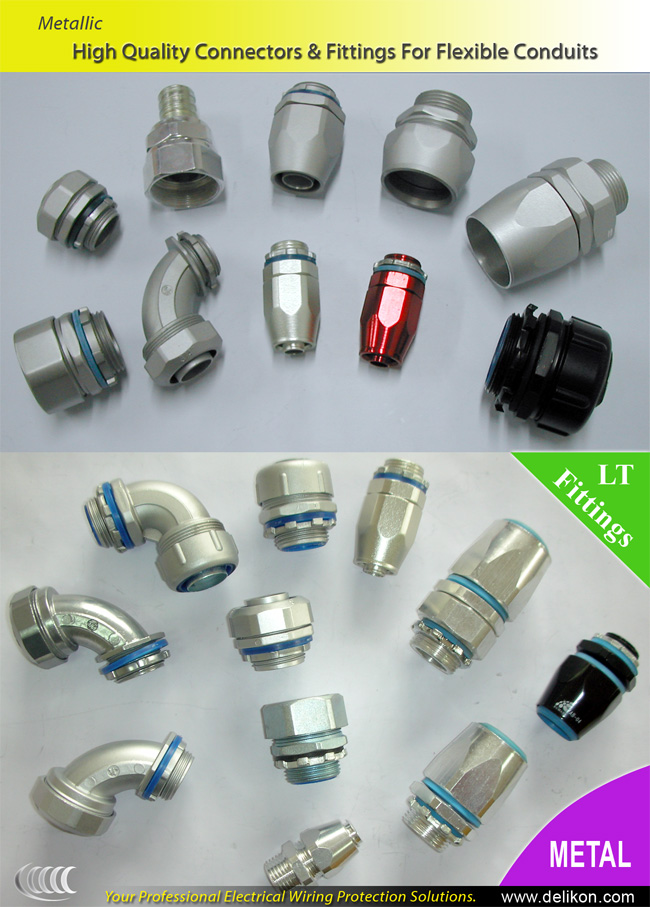 Delikon high quality metal connectors & fittings for flexible conduits