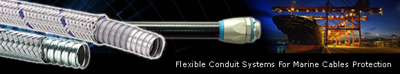Flexible conduit systems for marine cables protection
