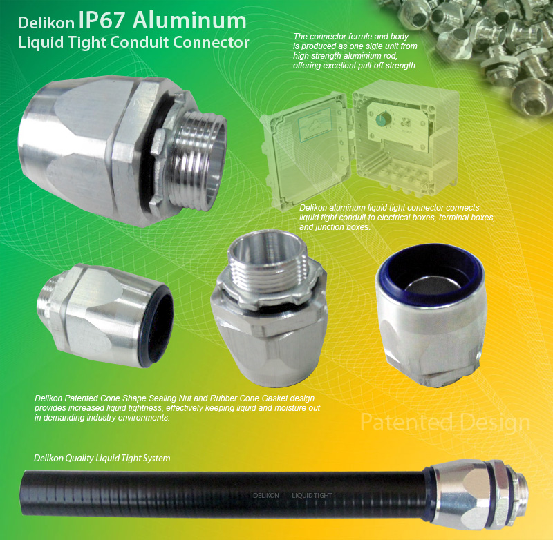 Delikon liquid tight conduit aluminum connector for use with Metal Liquid Tight Conduit or Non Metallic Liquid Tight Conduit (LFMC & LFNC). Male or Female Threads : PT, G, PF, PG, METRIC, NPT