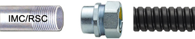 Female Liquid Tight Conduit Fittings connects a flexible conduit to IMC or RSC conduit